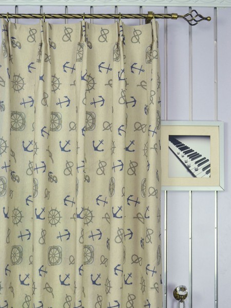 Eos Newspaper Printed Faux Linen Custom Made Curtains (Heading: Versatile Pleat)