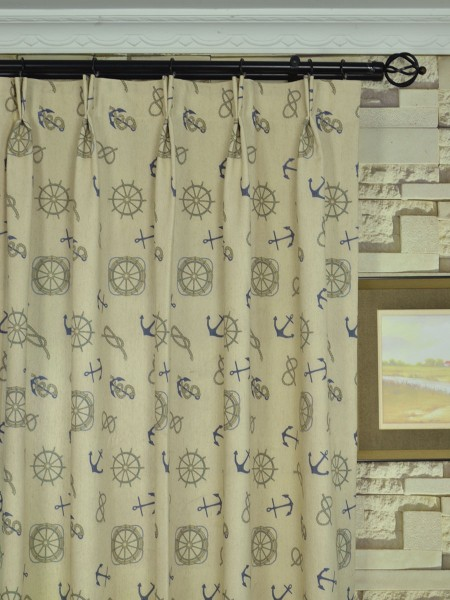 Eos Newspaper Printed Faux Linen Custom Made Curtains (Heading: Double Pinch Pleat)