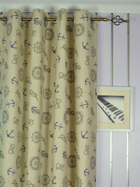 Eos Nautical Printed Faux Linen Grommet Curtain Heading Style