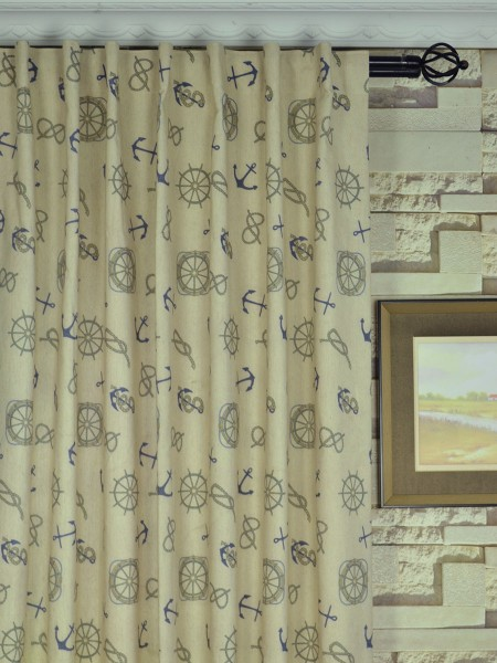 Eos Newspaper Printed Faux Linen Custom Made Curtains (Heading: Back Tab)