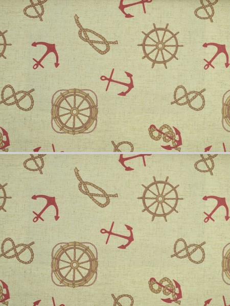 Eos Nautical Printed Faux Linen Grommet Curtain (Color: Carmine Pink)