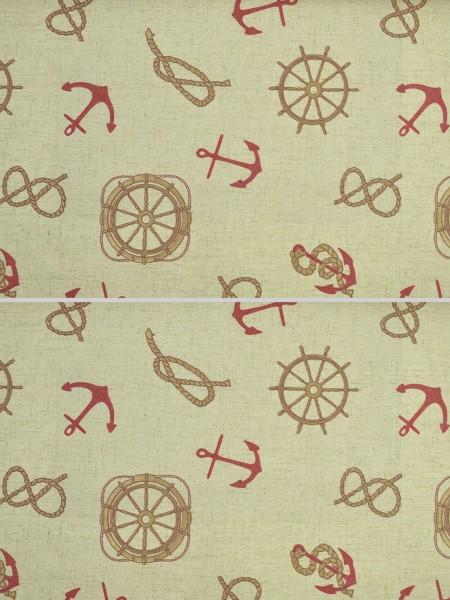 Eos Nautical Printed Faux Linen Versatile Pleat Curtain (Color: Carmine Pink)