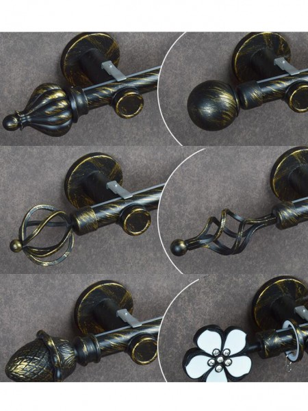 1 1 8 Quot Ball Cone Finial Metal Single Curtain Rod Set