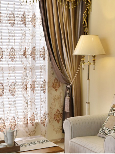 New Arrival Denali Brown Plain Waterfall And Swag Valance Sheers Custom Made Chenille Velvet Curtains Pair