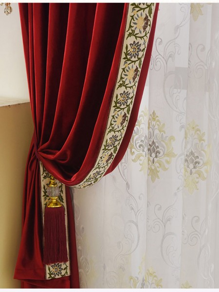 New Arrival Denali Pink Red And Purple Waterfall Swag Valance Sheers Custom Made Chenille Velvet Curtains Pair