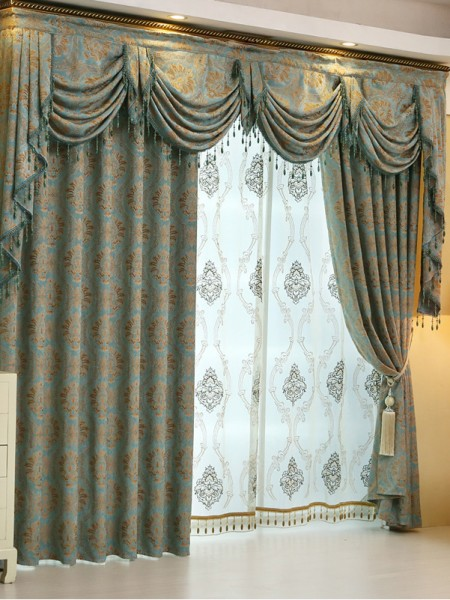 Baltic Jacquard Blue Coffee Color Floral Waterfall And