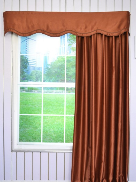 Swan Solid Brown Color Fake-layered Wave Window Valance and Curtains