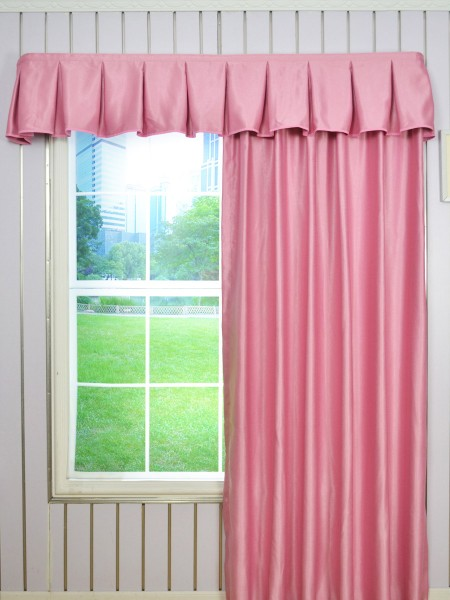 Swan Solid Color Box Pleated Valance and Versatile Pleat Curtains