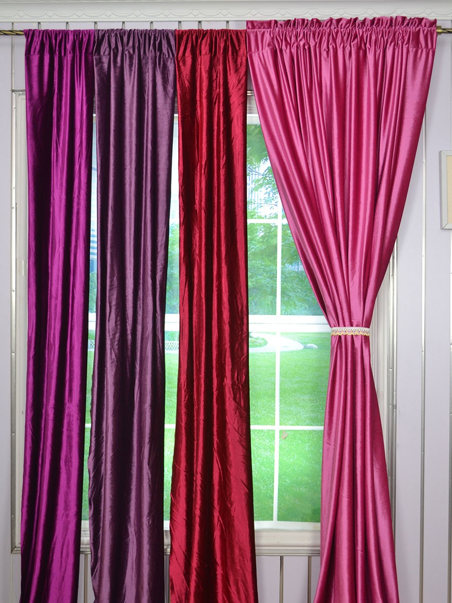 63 inch 96 inch whitney pink red and purple blackout grommet velvet curtains 63 inch 96 inch whitney pink red and purple blackout grommet velvet curtains - 63 Inch Curtains