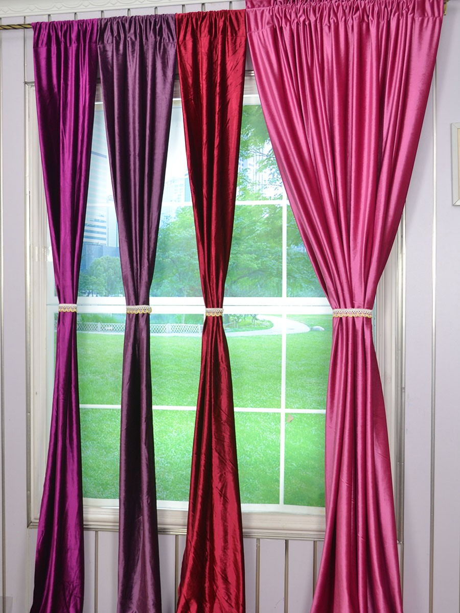 120 Inch Extra Wide Whitney Pink Red And Purple Blackout Grommet Velvet Curtains Cheerycurtains