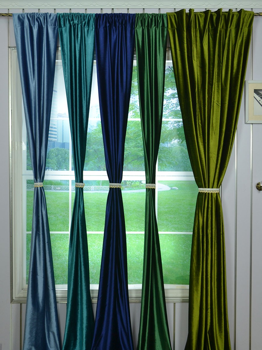 63 inch 96 inch whitney green and blue solid blackout grommet velvet curtains cheerycurtains. Black Bedroom Furniture Sets. Home Design Ideas