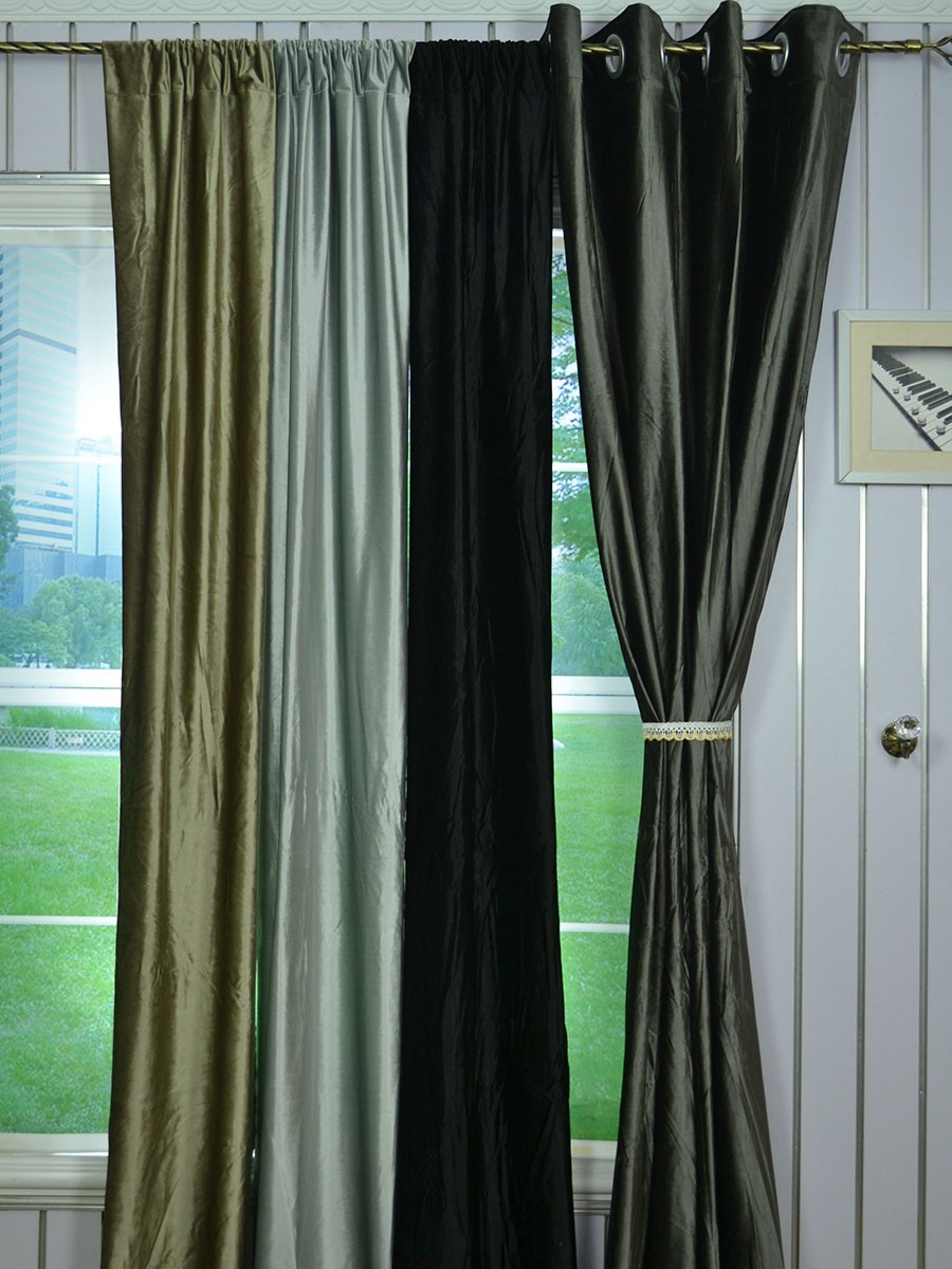 63 inch 96 inch whitney gray and black solid blackout grommet velvet curtains 63 inch 96 inch whitney gray and black solid blackout grommet velvet curtains