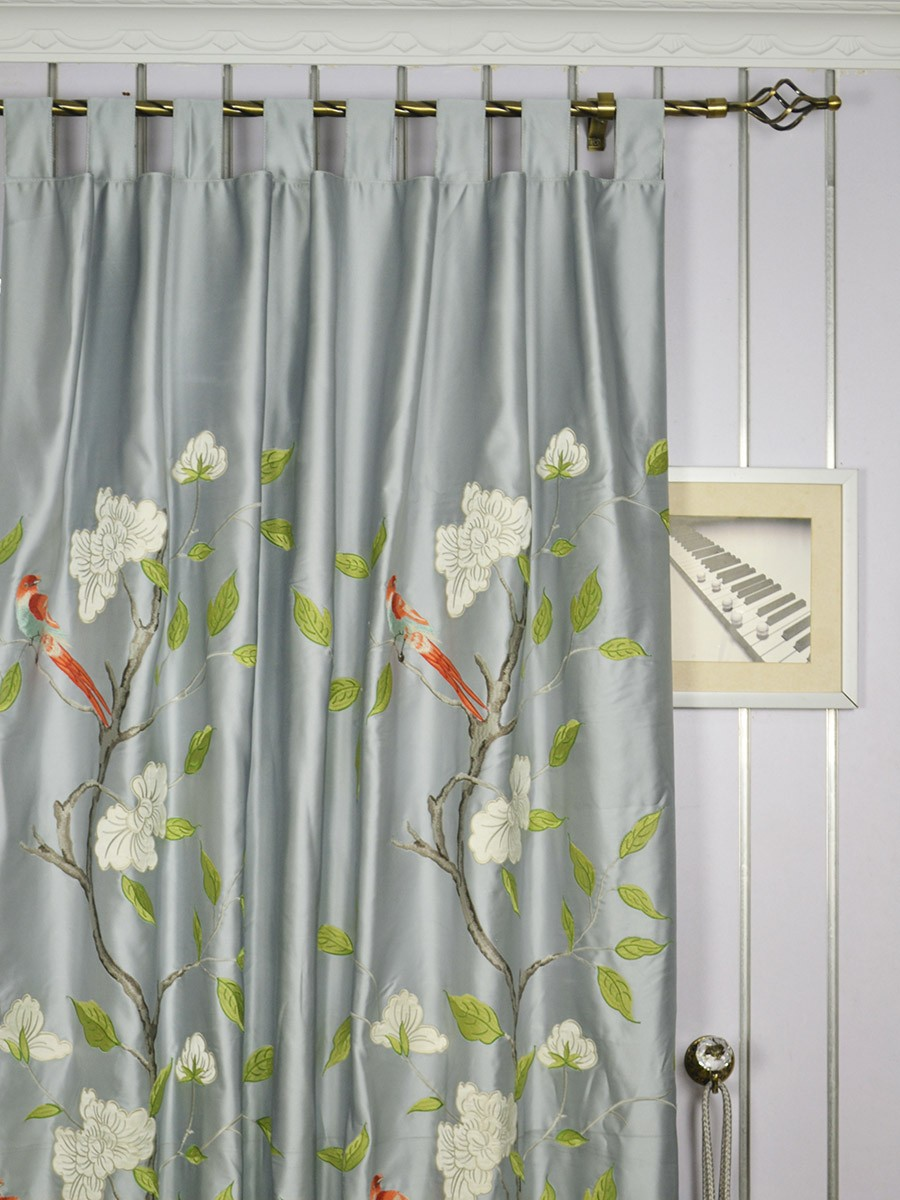 Living room morgan gray embroidered bird branch faux silk for Custom made draperies online