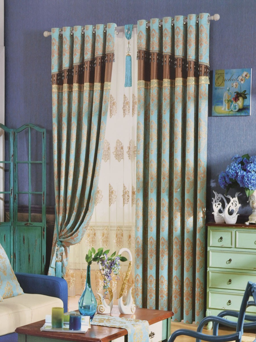 Angel Jacquard European Style Floral Pencil Pleat Chenille Curtain ... for Pencil Pleat Curtains On Track  300lyp
