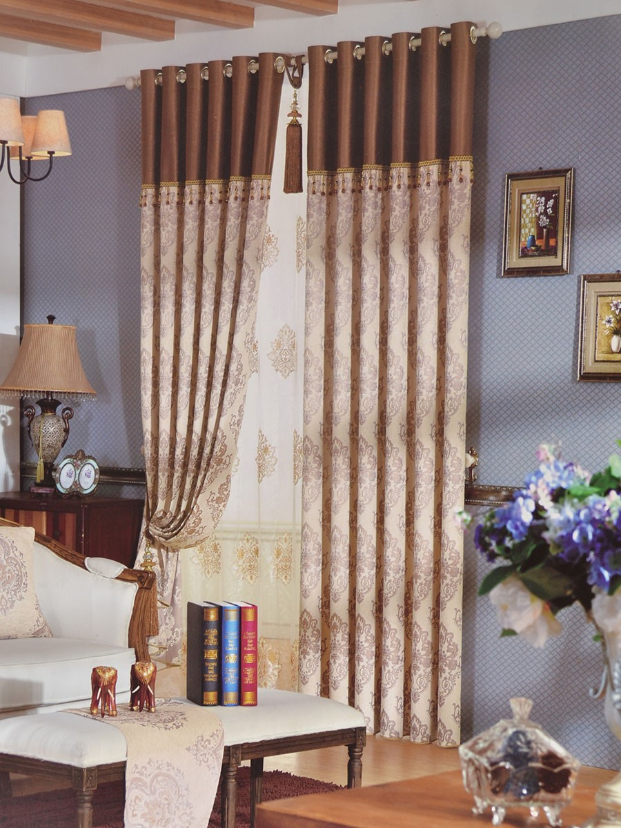 ... Angel Jacquard European Style Floral Custom Made Curtains (Color:  Beige) Angel Jacquard European Style Floral Custom Made Curtains (Color:  Beige) ...