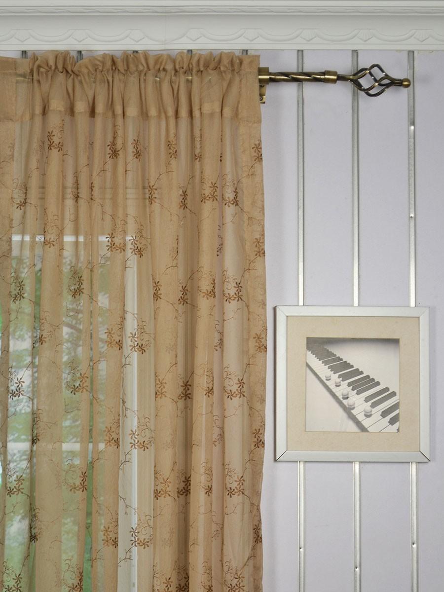 Elbert damask floral pattern embroidered rod pocket white for Patterned sheer curtain panels