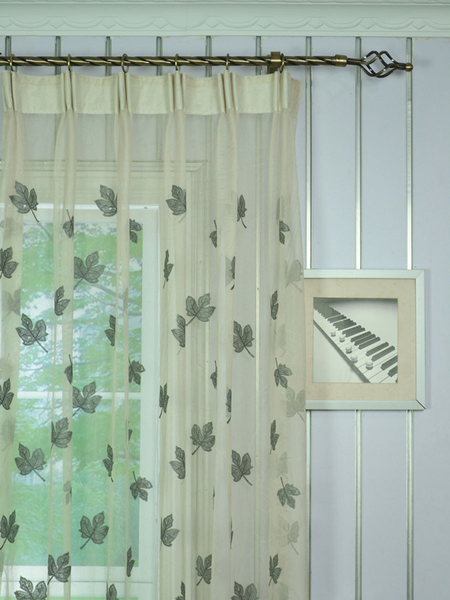 Elbert Maple Leaves Embroidered Custom Made Sheer Curtains