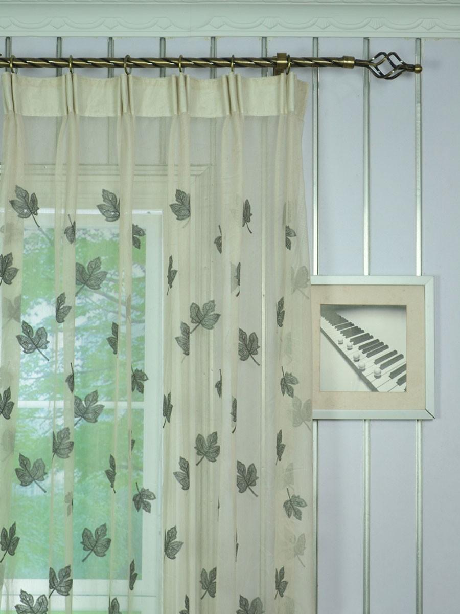 Elbert maple leaves embroidered custom made sheer curtains
