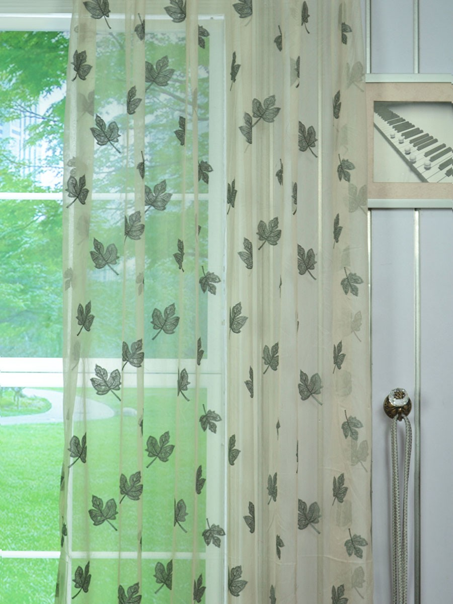 elbert maple leaves pattern embroidered grommet white sheer curtains panels fabric details elbert maple leaves pattern embroidered grommet white sheer
