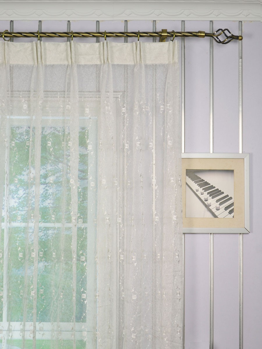 Elbert Daisy Chain Embroidered Custom Made Sheer Curtains White Sheer Curtains Cheery Curtains
