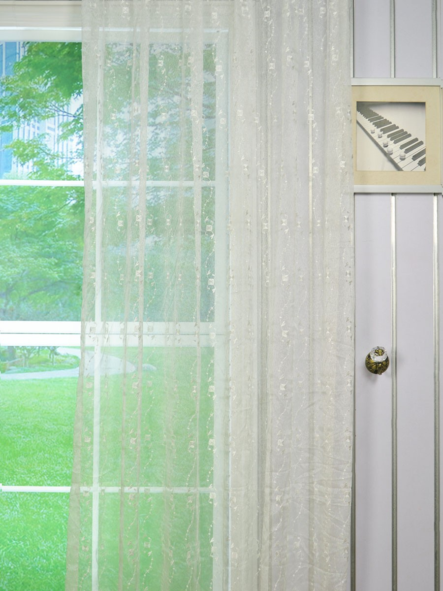 Elbert Daisy Chain Pattern Embroidered Tab Top White Sheer Curtain Panels Online Cheerycurtains