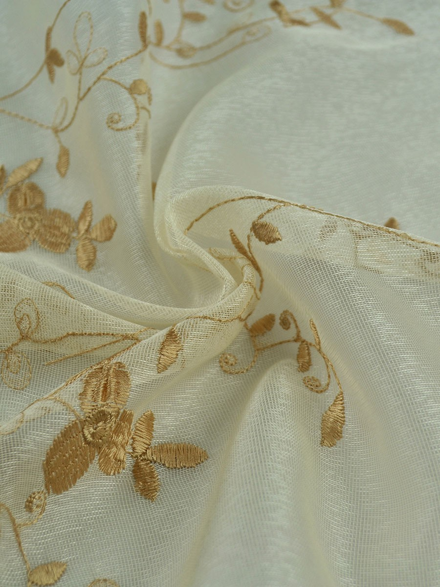 Elbert Vine Leaves Embroidered Sheer Fabric Sample