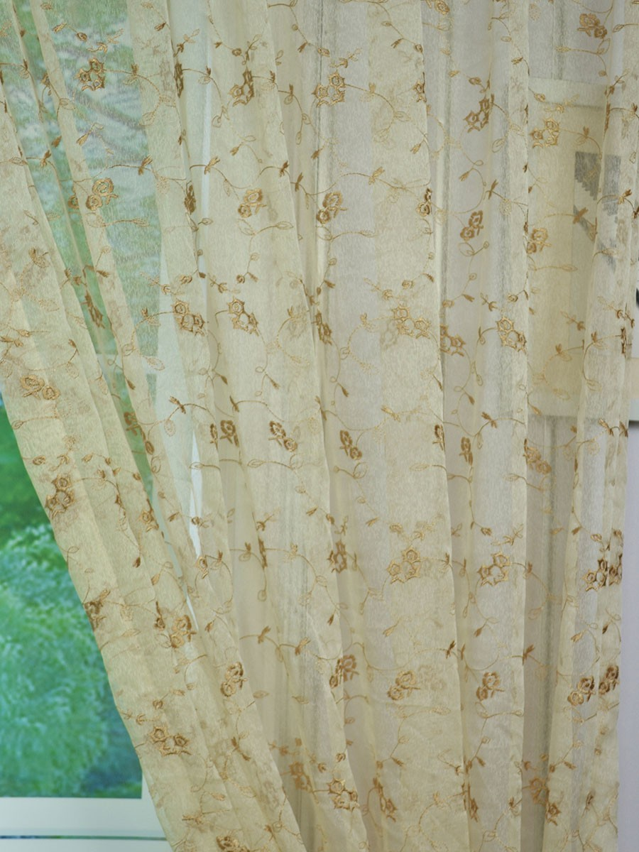 Elbert Damask Pattern Embroidered Grommet White Sheer Curtains Panels Online CheeryCurtains