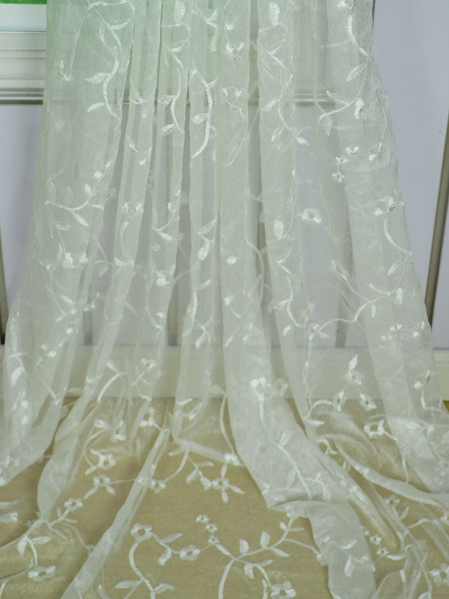 Elbert Branch Floral Pattern Embroidered Rod Pocket White Sheer Curtains Panels Cheerycurtains