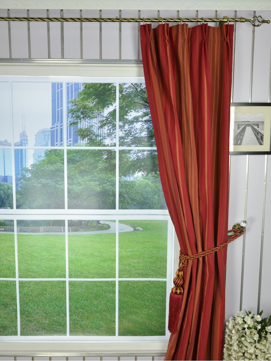 Irregular striped double pinch pleat extra long curtains for 120 inch window treatments