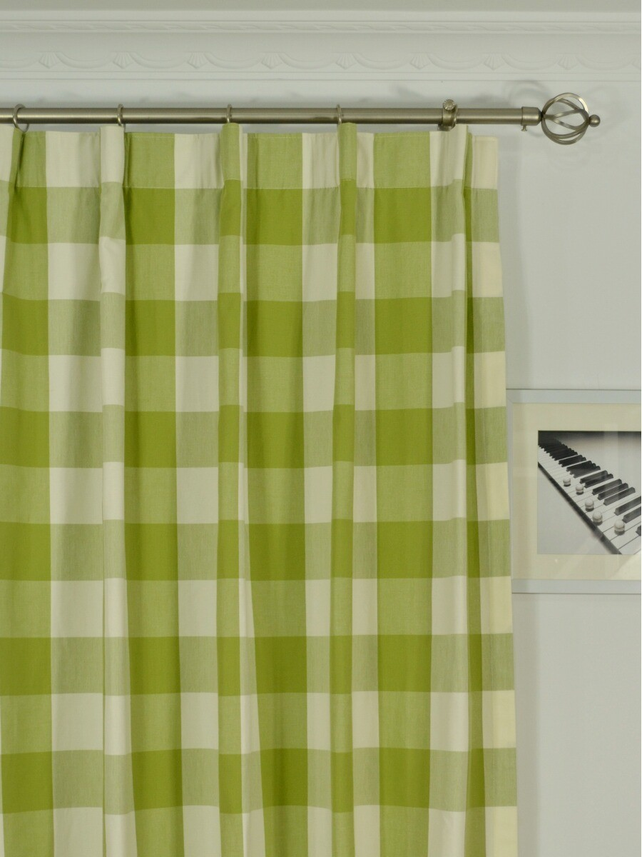 Moonbay Checks Versatile Pleat Cotton Extra Long Curtains
