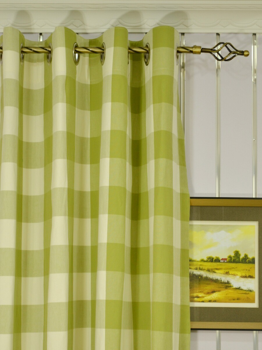 Moonbay Checks Grommet Cotton Extra Long Curtains 108 Inch