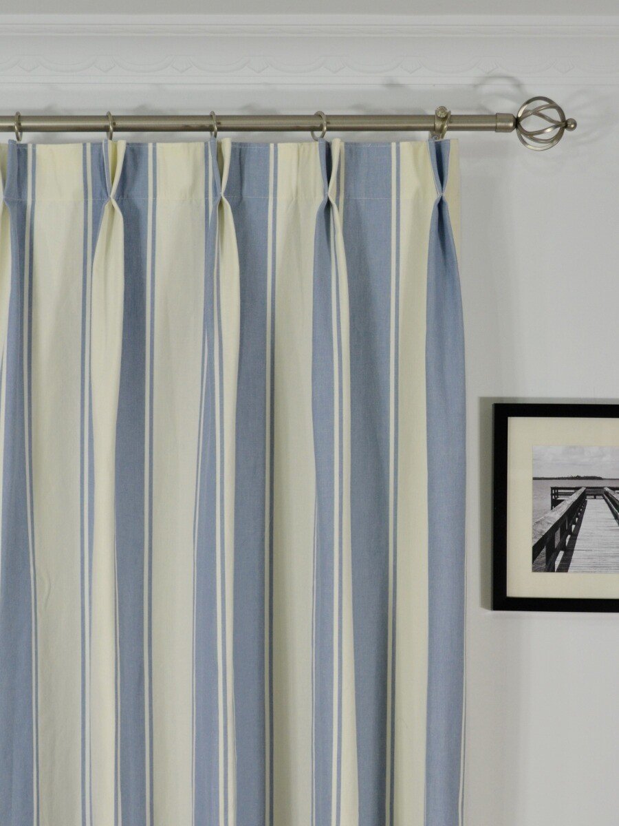 Moonbay Stripe Double Pinch Pleat Cotton Curtains