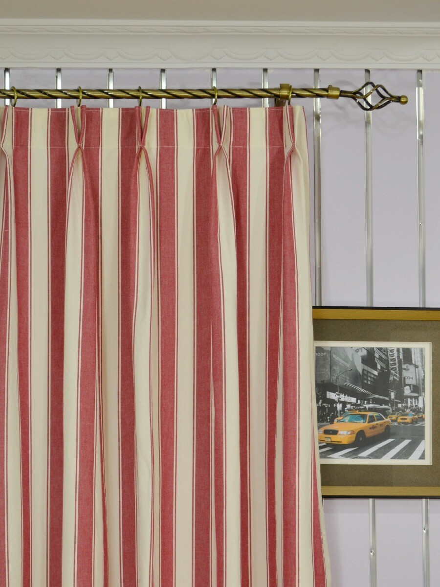Moonbay Narrow-stripe Double Pinch Pleat Cotton Curtains for Pencil Pleat Curtains On Track  49jwn