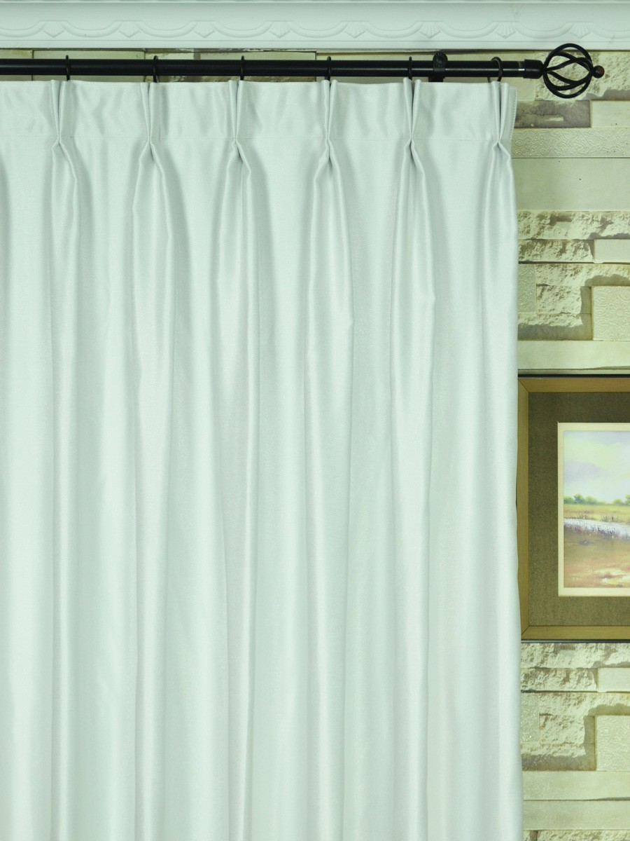 Extra wide swan beige and yellow solid double pinch pleat for Double width curtain lining