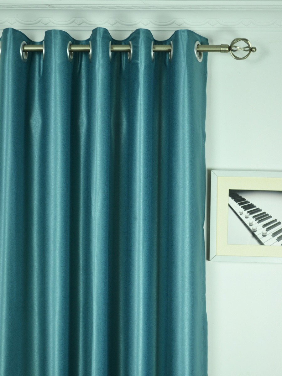 Extra Wide Swan Gray And Blue Solid Grommet Curtains 100