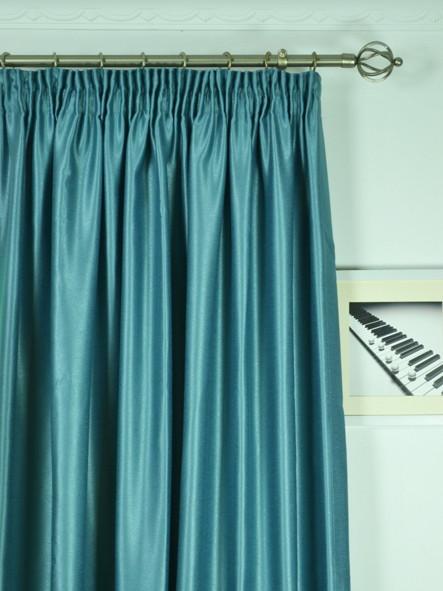 Extra Wide Swan Gray And Blue Solid Pencil Pleat Curtains