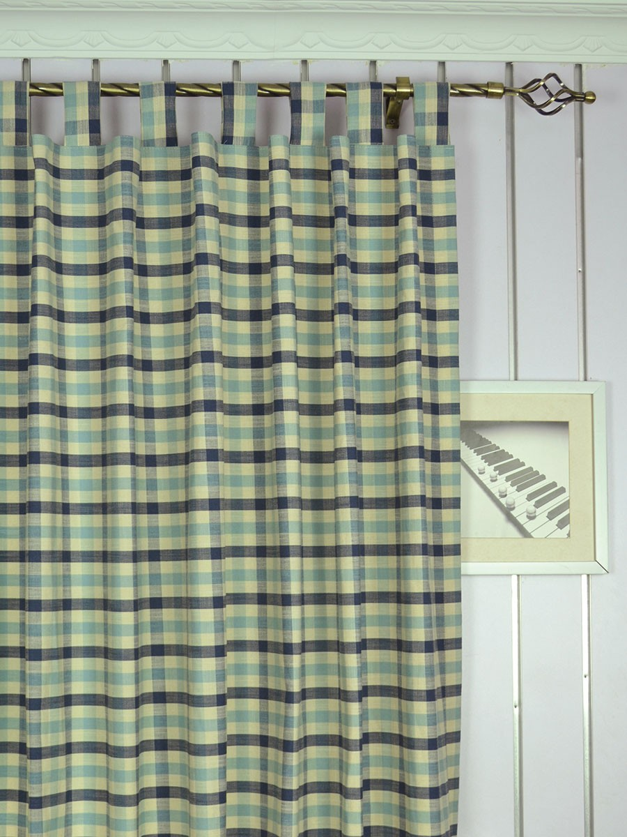 Extra Wide Hudson Small Check Tab Top Curtains 100 Inch 120 Inch Curtain Panel