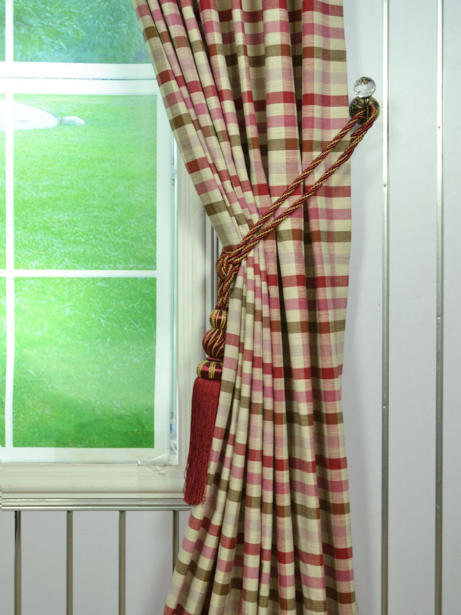 Extra Wide Hudson Middle Check Tab Top Curtains 100 120
