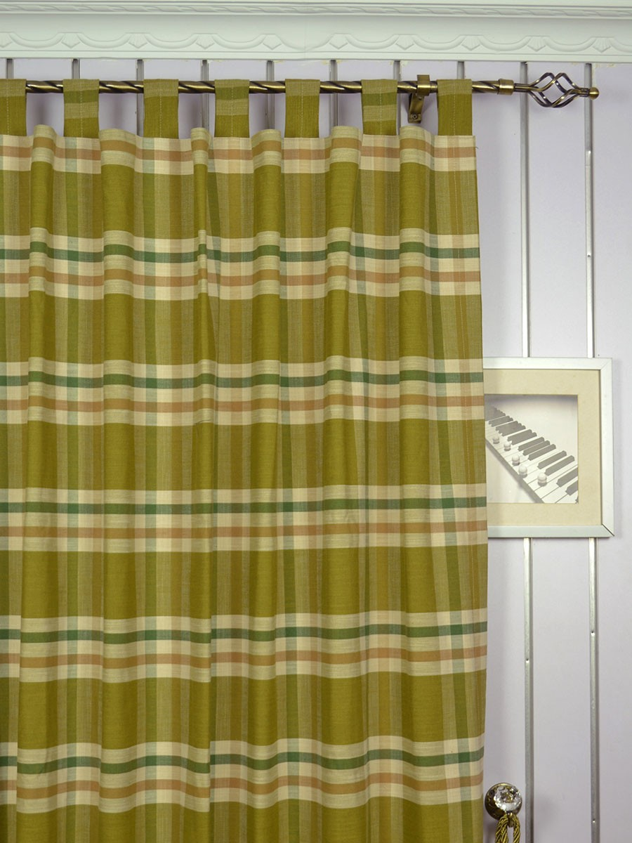 Extra Wide Hudson Large Plaid Tab Top Curtains 100 Inch