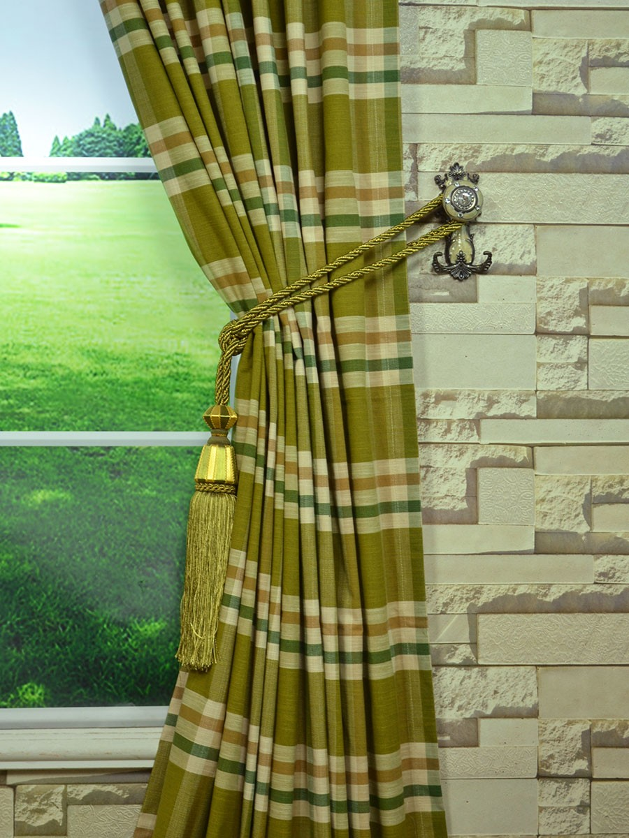 Extra Wide Hudson Large Plaid Back Tab Curtains 100 120