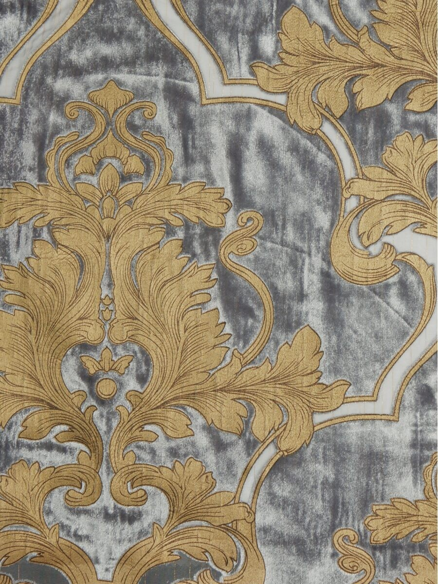Hebe Regal Floral Damask Single Pinch Pleat Velvet Curtains