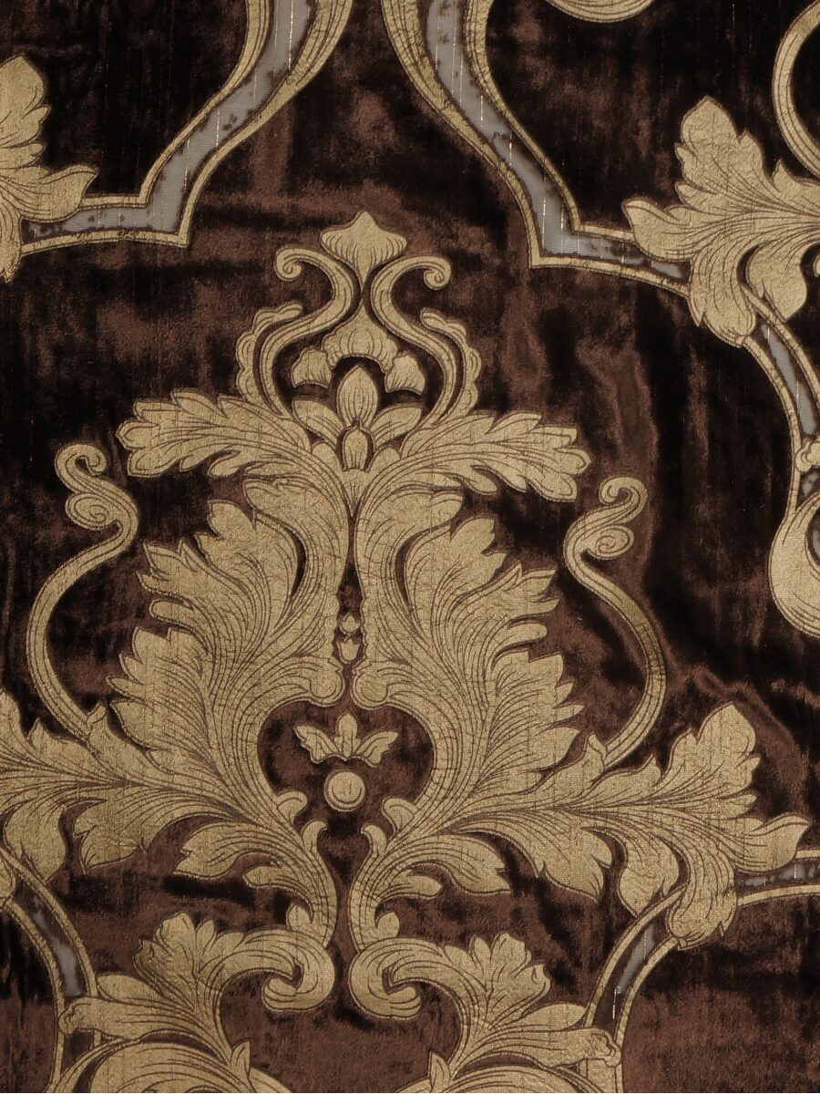 Hebe Regal Floral Damask Goblet Velvet Curtains