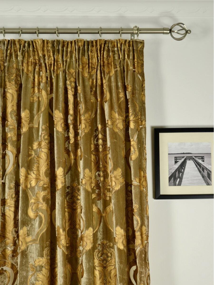 Hebe Regal Floral Damask Pencil Pleat Velvet Curtains