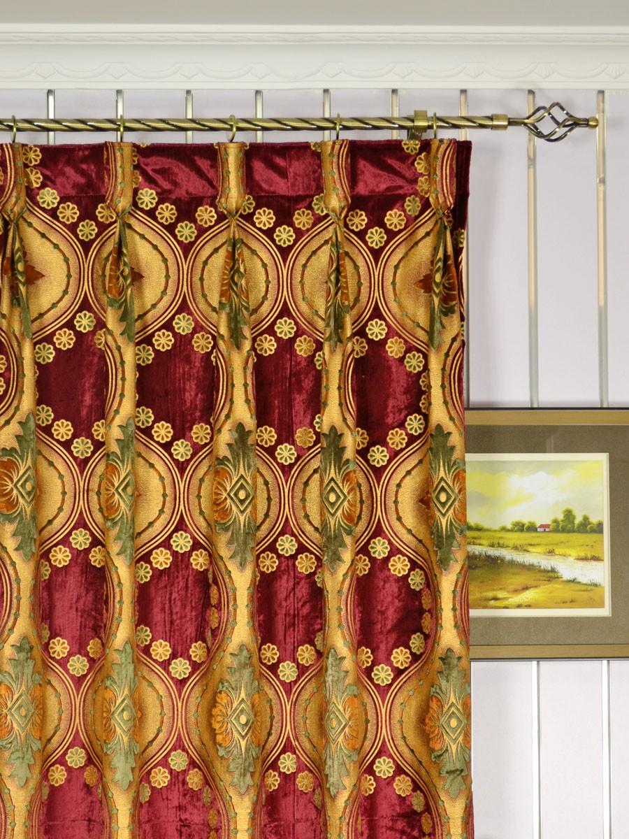 Maia Vintage Damask Goblet Pleat Velvet Curtains