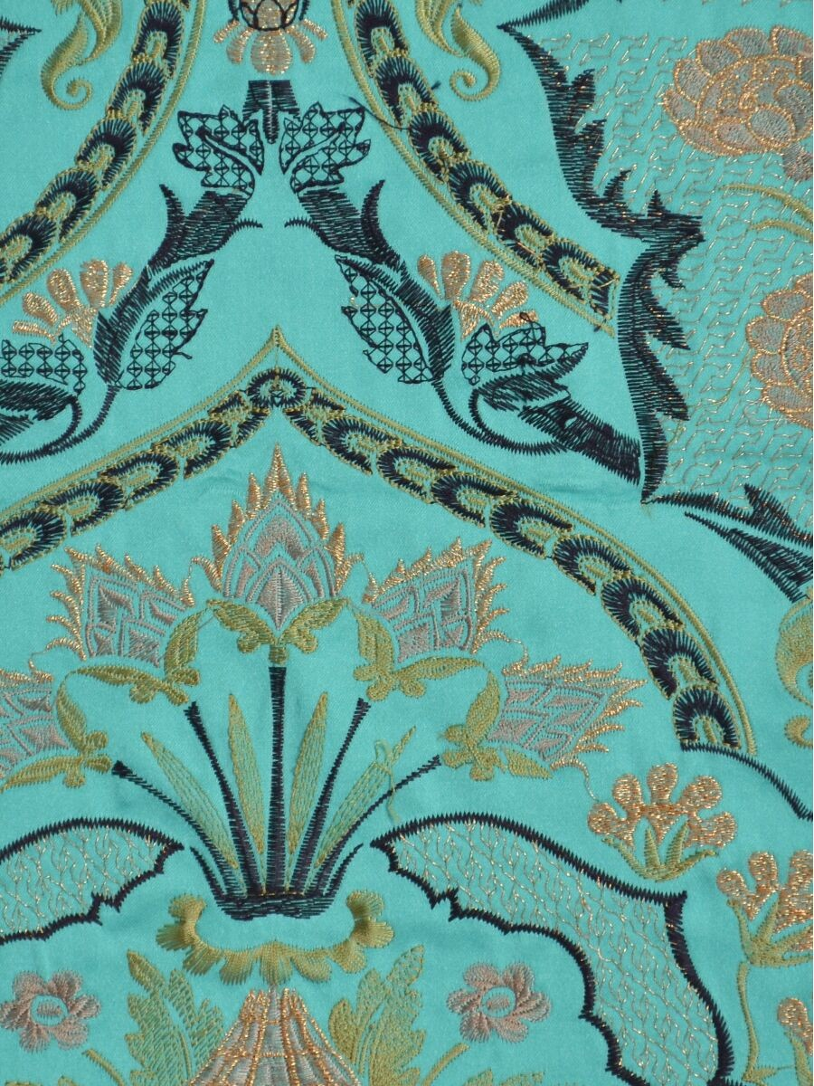 Silver Beach Embroidered Colorful Damask Fabric Sample