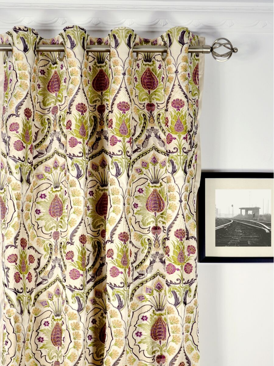 ... Silver Beach Embroidered Colorful Damask Grommet Faux Silk Curtains  Heading Style Silver Beach Embroidered Colorful Damask Grommet Faux Silk  Curtains ...
