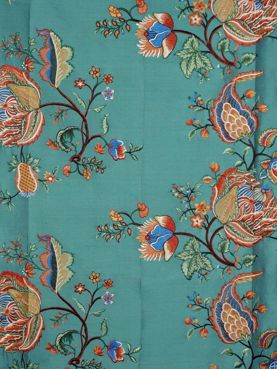 Halo embroidered multi color scenery dupioni silk fabric