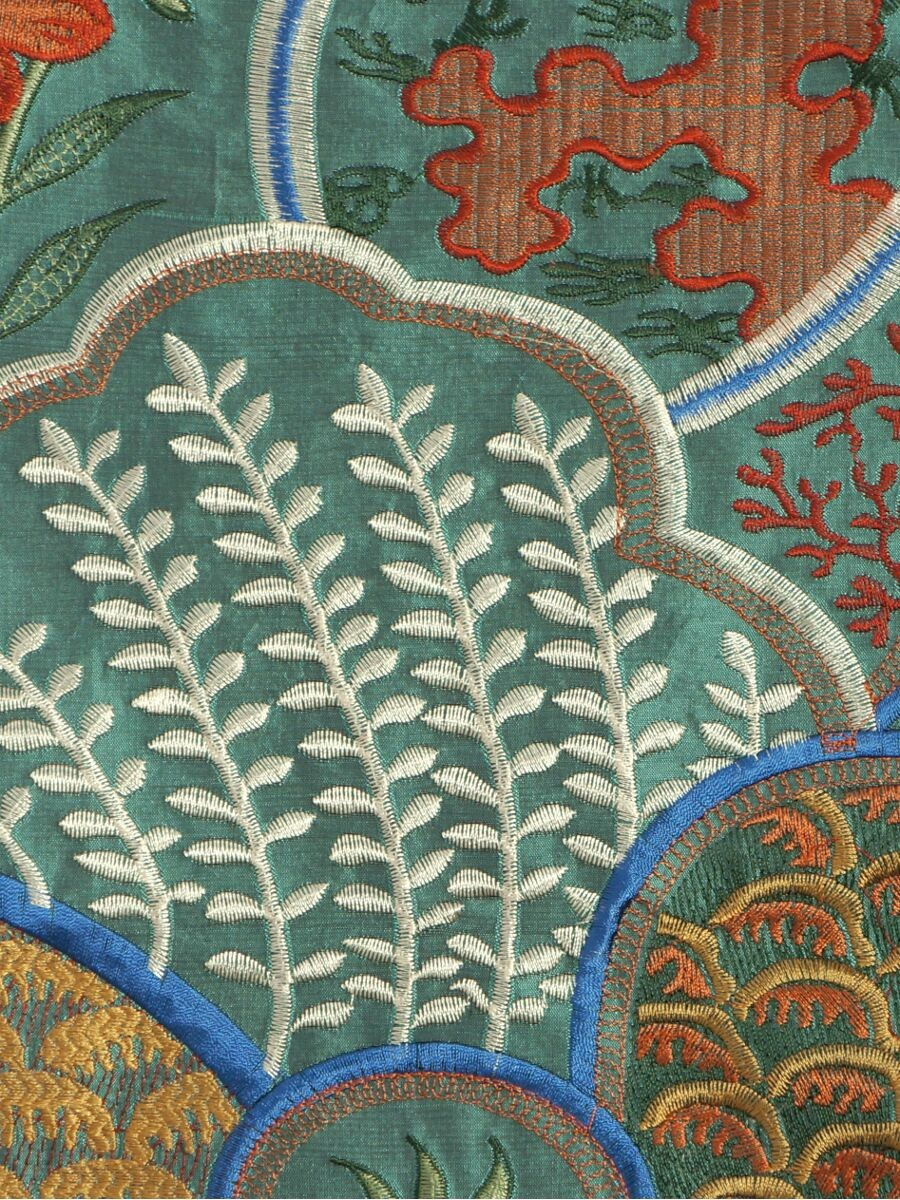 Halo Embroidered Lively Plants Dupioni Silk Fabric Sample