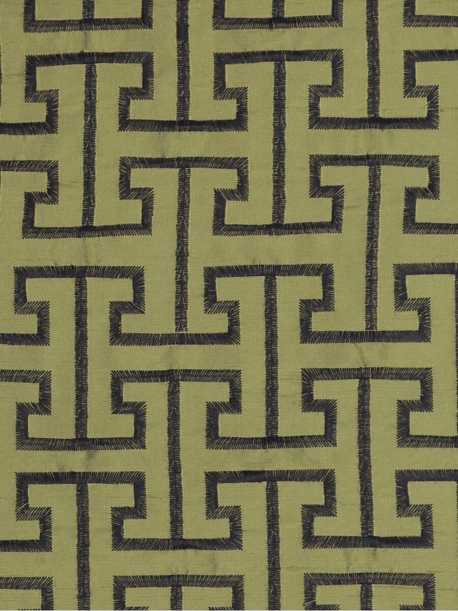 Halo Embroidered Maze Like Design Dupioni Silk Custom Made
