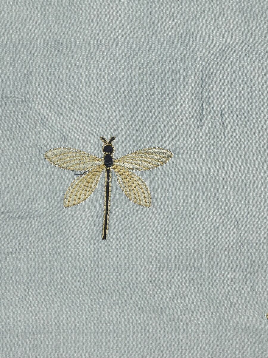 Halo Embroidered Dragonflies Triple Pinch Pleat Dupioni